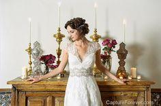 Claire Pettibone 'Brigitte' wedding gown http://www.clairepettibone.com/bridal/?cp=gowns/brigitte - Shot by @David Savinski of Capture Forever at @Los Poblanos Historic Inn & Organic Farm