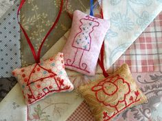 Country Garden Stitchery Embroidered Scissor Fobs