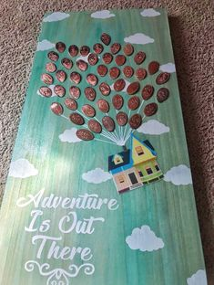 Disney UP Adventure Is Out There wooden pressed penny display 2 feet tall Adventure is out there! This is a Handmade, Handpainted, wall decor, wooden display for your pressed pennies. Wood is stained in a sky blue color (please note that all wood will var Disney Up, Disney Home, Kids Crafts, Cute Crafts, Crafts To Do, Arts And Crafts, Dyi Crafts, Family Crafts, Kids Diy