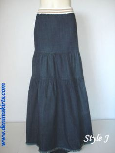 Tiered Long Vintage Jean Skirt - Size 8, cute!