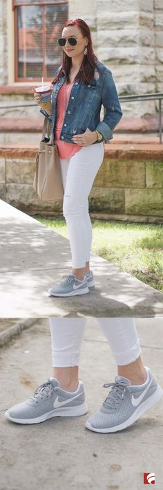 The chic sneak that fits into (nearly) every outfit: meet the Nike Tanjun! Kimberly of blog Mrs. Clifton's Closet pairs her Nike Tanjuns with white jeans, a simple tee and structured denim for a look that's fit for a weekend getaway or a coffee date with friends. The Nike Tanjun features a breathable mesh upper in a casual sneaker style with a round toe for everyday wear, and is currently available in 13 colors for women.