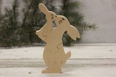 Organic Wooden Toy Rabbit Wood animals Wooden puzzle