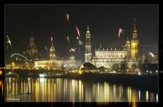 GERMANY, DRESDEN IN THE EVENING