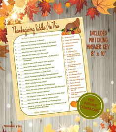 "To help make your Thanksgiving Day celebration more memorable be sure to add some theme games. It's a fun way to fill up time while keeping everyone entertained. After all you don't want things to get a bit ""stuffy"". #thanksgivinggame #thanksgivingprintable #thanksgivingdiy #etsyad"
