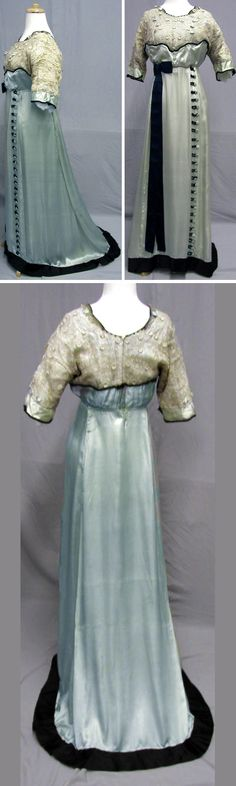 Evening gown ca. 1910s. Aqua silk satin trimmed with lace & ribbon. Empire waist. svpmeow1/ebay
