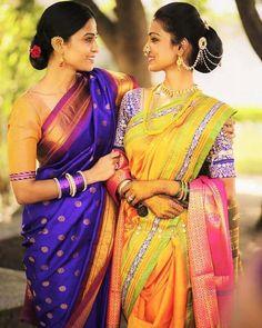 Dress Long Purple Beautiful 50 Ideas For 2019 Mehndi, Henna, Kashta Saree, Sari, Bridal Hairstyle Indian Wedding, Indian Bridal, Saree Hairstyles, Bride Hairstyles, Marathi Bride
