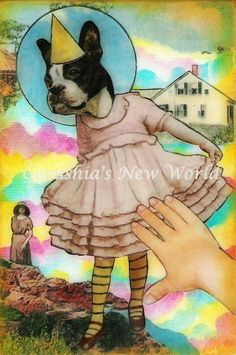 Dancing Fiona  Anthropomorphic Watercolor Collage Boston