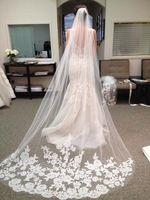 2016 Bride Veils White Applique Tulle 3 meters veu de noiva long wedding veils…
