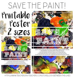 Save your precious paint, don't watch it dry up or go down the sinks. Provide a reminder and care instructions for your students through this modern, bright, printable poster. High School Art, Middle School Art, Visual Art Lessons, School Art Projects, Sinks, Classroom Decor, Art Education, Art World, Elementary Schools