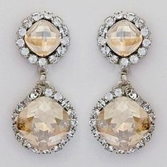 Discover Haute Bride wedding jewelry and bridal earrings at Perfect Details.  Vintage Hollywood Glam inspired bridal earrings in clear