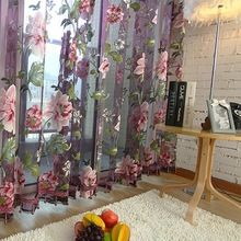 Têxtil de casa Flor Bordada de luxo 3D Cortinas de Voile tecido Tule Cortinas…