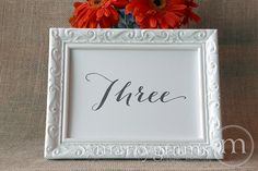 Wedding Table Number Signs Handwritten Style | Marrygrams