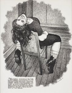 Robert Crumb (b. The Playful Attitude of the Model, Published in Art & Beauty Magazine (Fantagraphics Books), no Private collection, Antwerp. Robert Crumb, Ink Illustrations, Illustration Art, Fritz The Cat, Comic Kunst, Bd Comics, Comic Artist, Caricature, Book Art