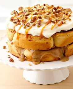 Who knew you could do that with cinnamon rolls?! Double-Stacked Cinnamon Roll Cake for a perfect decadent breakfast or birthday cake, how about a layer cake made with Pillsbury® Grands!® cinnamon or caramel rolls?