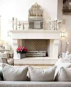 white walls / white fireplace