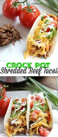 Crock Pot Shredded Beef Tacos from Served Up With Love. Set it and forget it. Set out all the topping s and let the fun begin. Tacos never tasted so good.