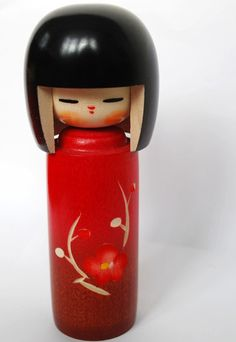 Red Japanese Kokeshi Doll 'Welcome Spring'