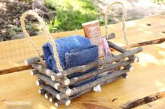 Rustic Log Basket Box Rustic Home Decor Log Cabin by HomenStead, $32.00