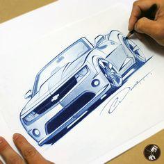 2013 Camaro Convertible blue pencil sketch