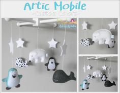 Baby Crib Mobile-Polar Bear Mobile-Artic/Antartic Crib Mobile-Penguin Whale and Polarbear mobile-Turquoise and gray Mobile