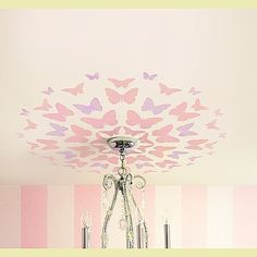 Butterfly ceiling decal.with pretty new light