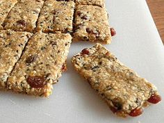 breakfast bars with dried fruits, bananas, sunflower (sesame) seeds and oats