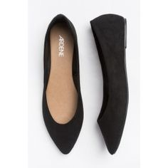 Pointy black suede flats