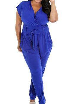 4163e246509 Zkess Women s Short Sleeve Belted Plus Size Jumpsuit XX-Large Size Blue  Bodycon Jumpsuit