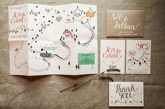 Custom Illustrated Wedding Stationery Map by CuriousmeDesign