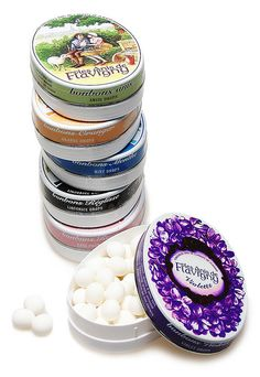 Les Anis de Flavigny candy drops in violet, rose, jasmine and orange blossom flavors.