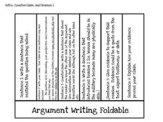 Argument Writing Foldable with Counterclaim, Evidence and