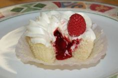 White Chocolate Cupcake with Raspberry Filling and Cream Cheese Frosting