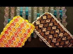 Hooked on Love was designed by on IG. This is a 11 pinbar wide design. Rainbow Loom Easy, Rainbow Loom Tutorials, Rainbow Loom Patterns, Rainbow Loom Bands, Rainbow Loom Charms, Rainbow Loom Bracelets, Rubber Band Bracelet, Money Origami, Ribbon Sculpture