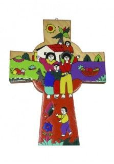 EL SALVADOR CROSS WITH FAMILY 26CM: This 26cm cross was hand painted in El Salvador. It is shaped like a Celtic cross but decorated with the image of a family at home.