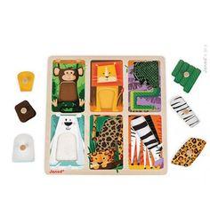 Puzzle sensoryczne drewniane Zwierzątka w ZOO, Janod