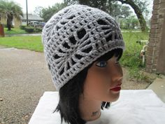 Gray hat lace hat Crocheted Mesh Hat Mesh Beanie by Ritaknitsall