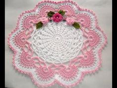 Centro de mesa em Crochê branco e Rosa-#Parte1 - YouTube