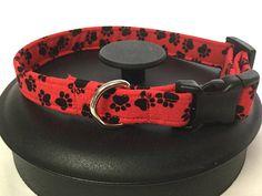 Dog collar red dog collar dog paw collar adjustable dog
