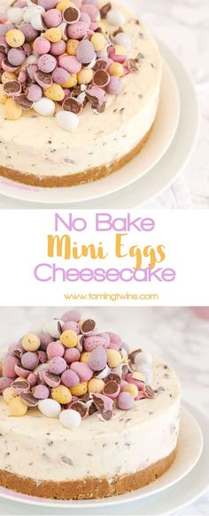 THE Easter dessert! *WITH VIDEO GUIDE* This No Bake Mini Egg Cheesecake is light and easy peasy, packed with Easter chocolate treats. A crumbly biscuit base, topped with whipped cream and cream cheese, absolutely delicious and easy enough for even the beginner. https://www.tamingtwins.com via @tamingtwins