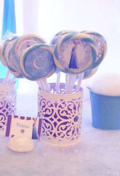 Lollipops at a Frozen birthday party! See more party ideas at CatchMyParty.com!