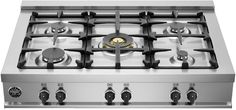"""Bertazzoni CB36M500X 36"""" Master Series Gas Sealed Burner Style Cooktop Bertazzoni Free Ventilation with Built-In Package (Up To $2350 Value) Save up to $2350 with purchase of select Bertazzoni appliances. Purchase any freestanding Range or Cooktop + Wall Oven combo and have a choice of a Free Hood, Insert, or Microwave, or upgrade at 50% off. Get unlimited additional rebates on Speed Ovens, Steams Ovens, Refrigerators and Dishwashers."""
