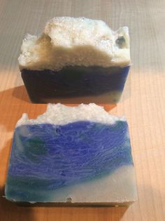 Moonlit Sea. Soap from the Soul. Seal salt with glitter atop the ocean color, beautiful soap