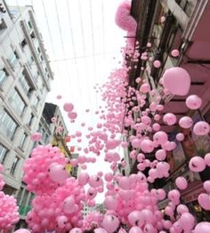 Pink balloons released
