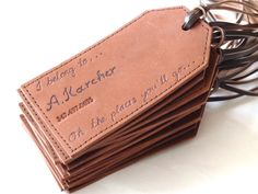 Hand engraved leather luggage tags. Personalised. www.susanholland.etsy.com