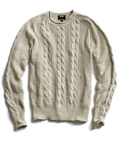 Ivory Cotton Cable Roll Neck Sweater by Todd Snyder.