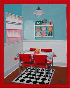 Mid Century Modern Eames Retro Limited Edition Print from Original Painting Red Kitchen on Etsy, $30.00