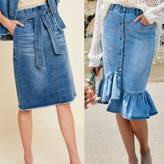 Swans Style is the top online fashion store for women. Shop sexy club dresses, jeans, shoes, bodysuits, skirts and more. Denim Skirt Outfits, Denim Maxi Dress, Midi Skirt, Online Fashion Stores, Club Dresses, Affordable Fashion, Chambray, Fashion Outfits, Fashion Skirts