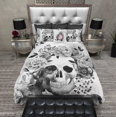 Black and White Watercolor Skull Duvet Bedding Sets - Ink and Rags