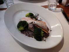 Trout filet from Giessenhof in Bern on mustard lentils and broccoli @ Restaurant Hardhof