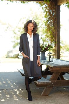 Stepping into fall in style (featuring J.Jill's long open-front cardi).